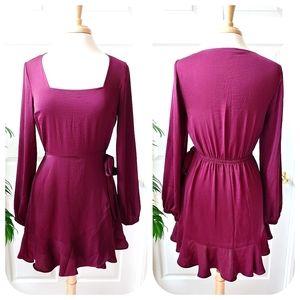 Express Satin Long Sleeve Square Neck Mini Dress